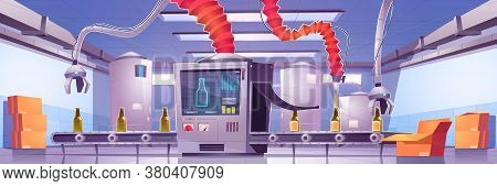 Conveyor Belt On Beverage Production Factory. Process Of Automatic Filling Beer Or Juice In Green Gl