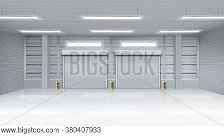 Empty Warehouse With Rolling Doors, Storehouse Interior With Shutter Gates, Illuminating Lamps On Ce