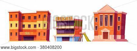 Educational Institutions Kindergarten, School And University Buildings Front View Facade. Modern Cit