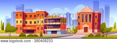 Buildings Of School, Kindergarten And University On Town Street. Vector Cartoon Landscape With Educa
