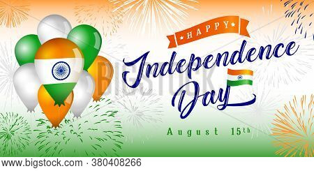 Happy Independence Day In India Creative Congrats. Isolated Abstract Graphic Design Template. Saffro