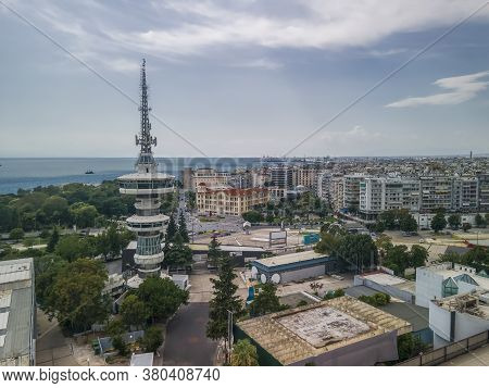 Thessaloniki, Greece Aerial Drone View Of Empty International Tif Trade. Day South View Panorama Of