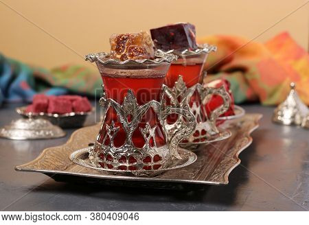 Pomegranate Tea And Turkish Delight On Metal Tray On Beige Background, Closeup, Horizontal Format