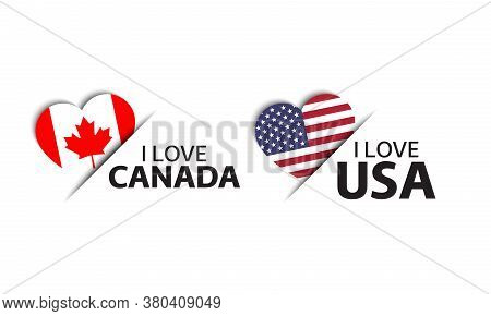 Set Of Two Canadian And United States Of America Heart Shaped Stickers. I Love Canada And America. M