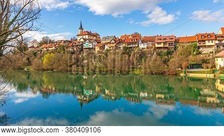 River Krka Reflection In Novo Mesto Slovenia