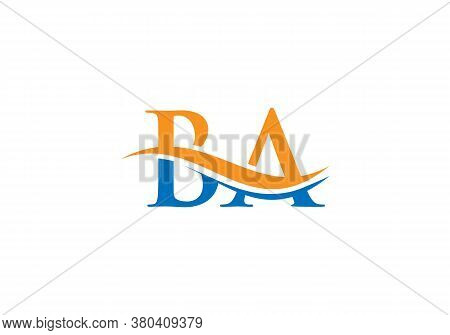 Water Wave Ba Logo Vector. Swoosh Letter Ba Logo Design For Business And Company Identity.