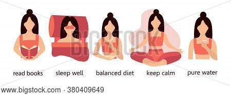 Women Health Infographics And Lifestyle Tips. Keeping Calm, Sleeping, Reading Books, Eating Properly