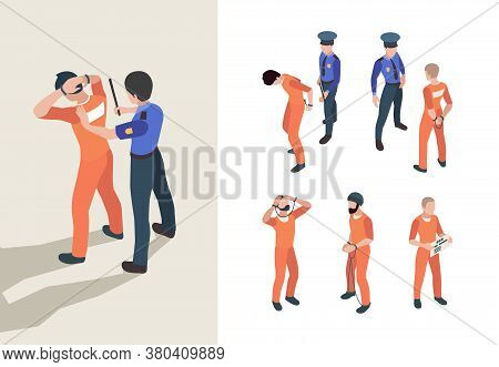 Police And Prisoners. Isometric Federal Jail Characters Low Justice Person Inmate Vector Persons. Po