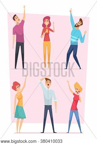 Looking Up. People Pointing In Sky Group Of Happy Characters Vector Illustrations. People Crowd Audi