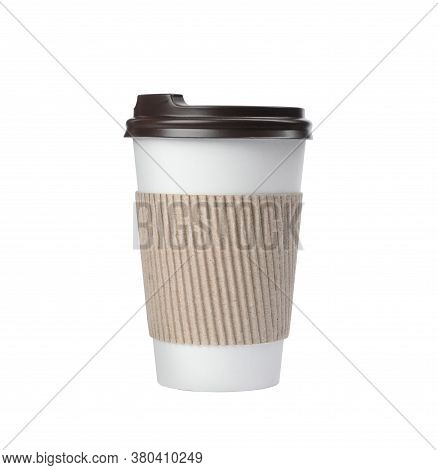 Takeaway Paper Coffee Cup With Cardboard Sleeve Isolated On White