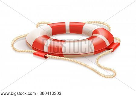 Life buoy for drowning rescue. Isolated on white background. 3D illustration.