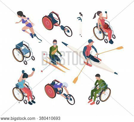 Paralympic Games. Athletic Disability Persons In Olympic Sport Celebration Vector Isometric Characte