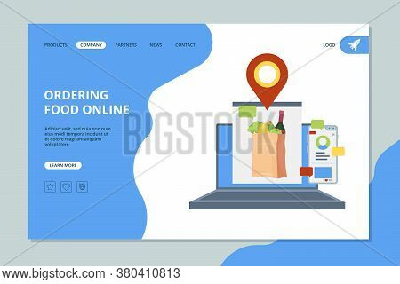 Ordering Food Online. Shopping Market Basket With Grocery Food Vector Landing Page Template. Grocery