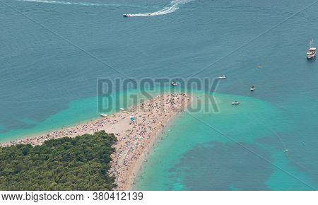 Zoomed In View From Vidova Gora Mountain Of The Famous Golden Zlatni Rat Beach On The Island Of Brac