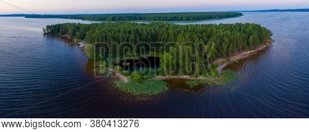 Aerial panorama of the green island on the river of Kama in Russia