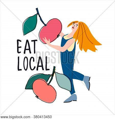 Eat Local Concept. Women Picking Apples Vector Illustration In Abstract Flat Style. Hand Lettering.