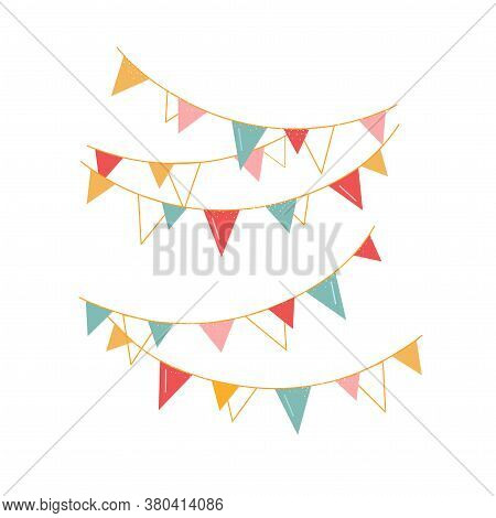 Festive Vector Garlands For A Party. Multi-colored Flags, Decorations For Decorating The Room. Isola