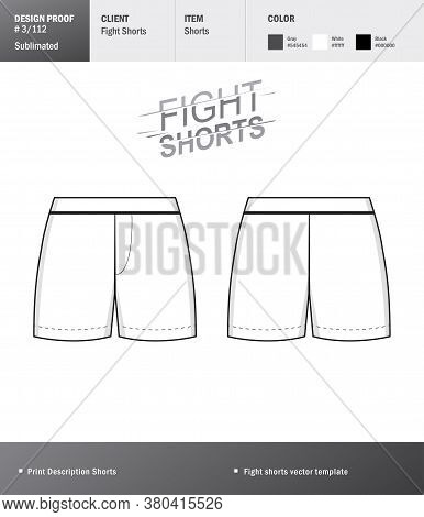 Vector Fight Shorts Template For Your Design. Template Sport Short For Your Design