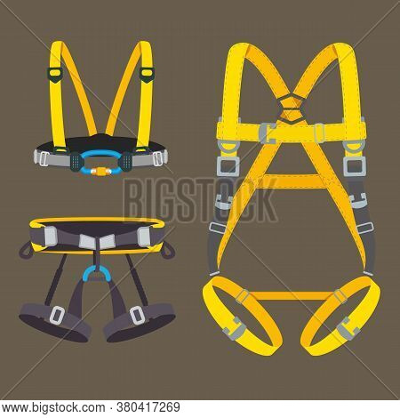 Safety Harness Fall Protection Set. Climbing, Mountaineering, Abseiling Or Rappelling Gear. Industri