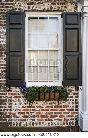 Flower Window Box In Historic Downtown Charleston, South Carolina Greenery Brick House
