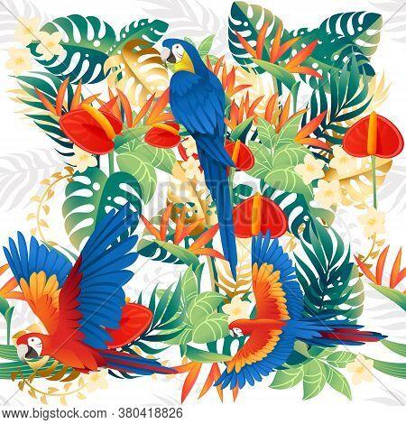 Seamless Pattern Cute Ara Parrot Sit With Green Leaves Cartoon Animal Design Flat Vector Illustratio