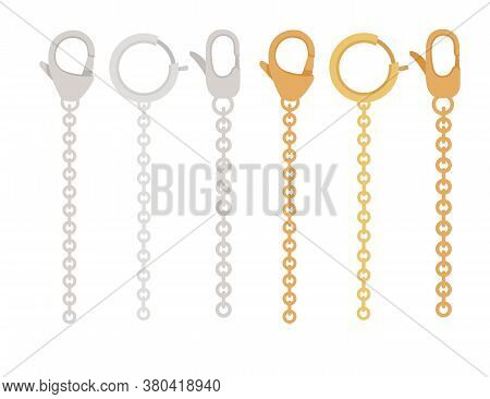 Golden And Silver Chain With Claw Clasp Jewelry Accessory Flat Vector Illustration Isolated On White