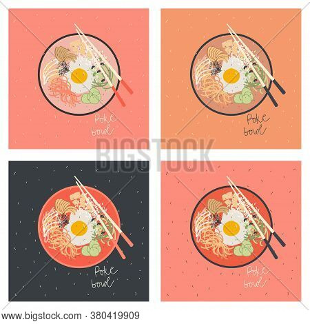 Poke Bowl With Egg, Vegetables And Salmon Fish . Vector Hand Drawn Illustration. Postcards In Differ