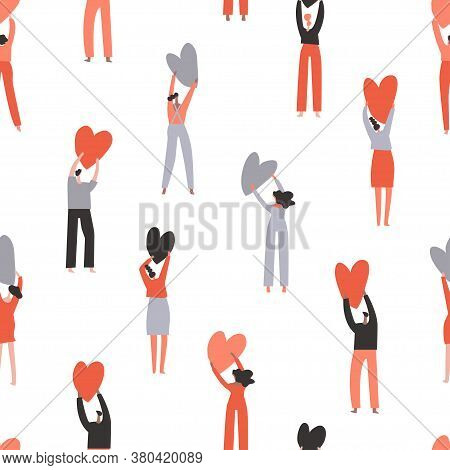 Group Of People Holding Hearts In Hands. Peaceful Togetherness Concept. Element Of Seamless Pattern.
