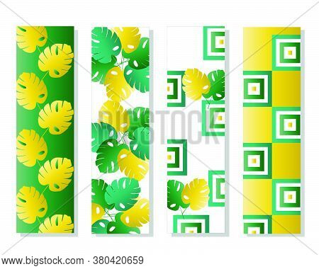 Four Bookmarks Vector Set With Tropical Leaves In Green And Yellow Colors - Floral Green Theme