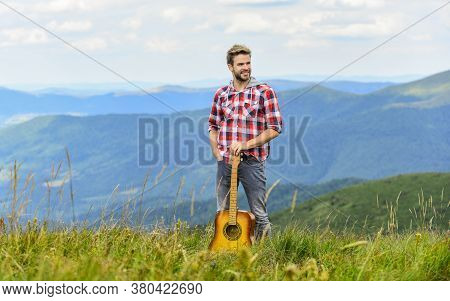 Inspired Musician. Summer Music Festival Outdoors. Playing Music. Silence Of Mountains And Sound Of