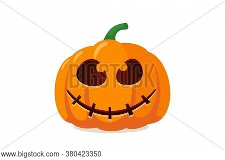 Scary Spooky Pumpkin Jack O Lantern With Creepy Ghost Fear Smile. Traditional Happy Halloween Holida