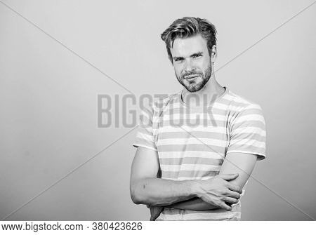 Bearded And Stylish. Summer Fashion. Unshaven Student Guy. Male Fashion And Beauty. Sexy Macho In Ca