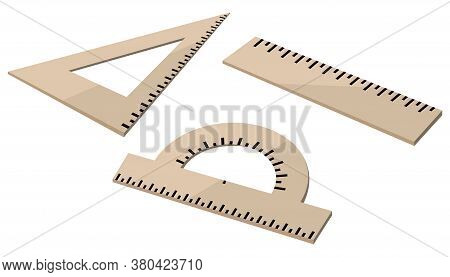 Ruler Protractor Square. New Collection Of School Supplies For Geometry And Drawing In Three Items.