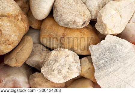 Close-up Of Abstract Background With Pebble Stones. Texture Of White Stones.