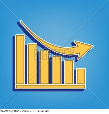 Declining Graph Sign. Golden Icon With White Contour At Light Blue Background. Illustration.