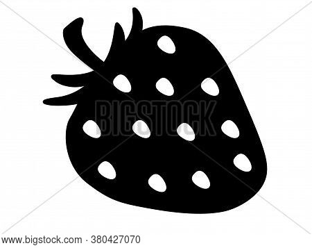 Strawberry - Black Vector Silhouette For Pictogram Or Logo. Strawberry Berry - Sign Or Icon.
