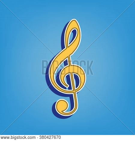 Music Violin Clef Sign. G-clef. Treble Clef. Golden Icon With White Contour At Light Blue Background