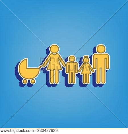 Family Sign Illustration. Golden Icon With White Contour At Light Blue Background. Illustration.