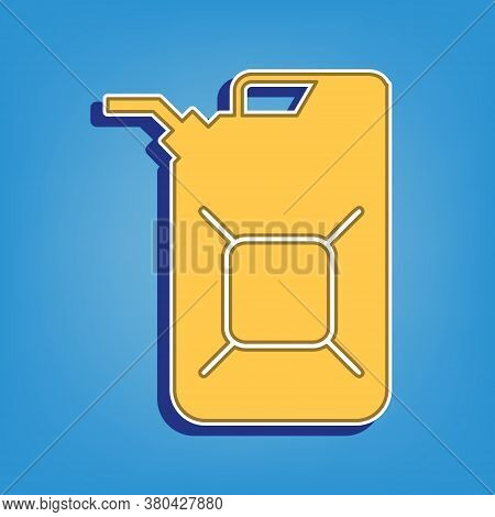 Jerrycan Oil Sign. Jerry Can Oil Sign. Golden Icon With White Contour At Light Blue Background. Illu