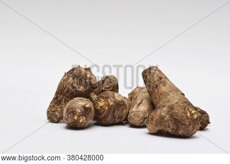 Whole Taro Root Or Colocasia Esculenta Raw Root Vegetable Also Known As Arbi In India On White Backg