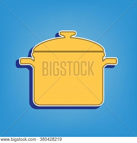Cooking Pan Sign. Golden Icon With White Contour At Light Blue Background. Illustration.