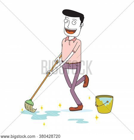A Happy Man Mopping The Floor Happily