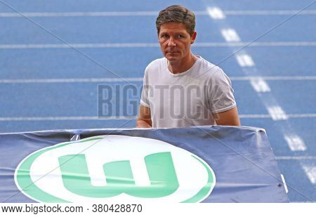 Kyiv, Ukraine - August 5, 2020: Vfl Wolfsburg Manager Oliver Glasner Looks On During The Uefa Europa