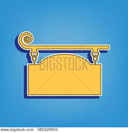 Wrought Iron Sign For Old-fashioned Design. Golden Icon With White Contour At Light Blue Background.