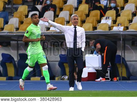 Kyiv, Ukraine - August 5, 2020: Shakhtar Donetsk Manager Luis Castro In Action During The Uefa Europ