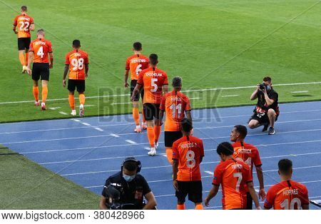 Kyiv, Ukraine - August 5, 2020: Shakhtar Donetsk Players Go To The Pitch During The Uefa Europa Leag
