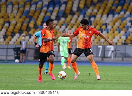 Kyiv, Ukraine - August 5, 2020: Marcos Antonio (l) And Taison Of Shakhtar Donetsk In Action During U