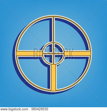 Sight Sign Illustration. Golden Icon With White Contour At Light Blue Background. Illustration.