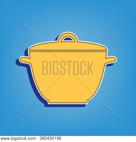 Saucepan Simple Sign. Golden Icon With White Contour At Light Blue Background. Illustration.