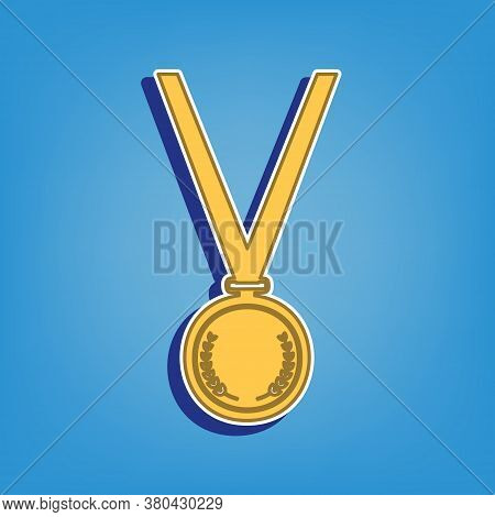 Medal Simple Sign. Golden Icon With White Contour At Light Blue Background. Illustration.